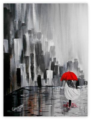 Walk in the rain by Ghanasha's Art