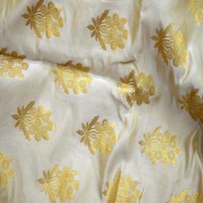 Ivory Gold Brocade saree