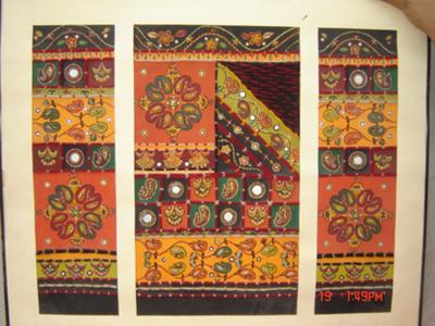 hand painted wall hanging inspired by the Sindhi emberiodery