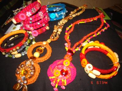 hand crafted bangles and necklace