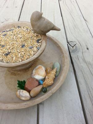 Stone Bird Feed/Bath by FunparaZ
