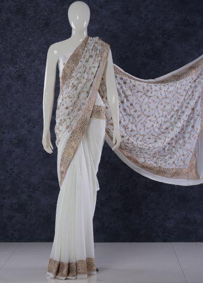 White Gold saree